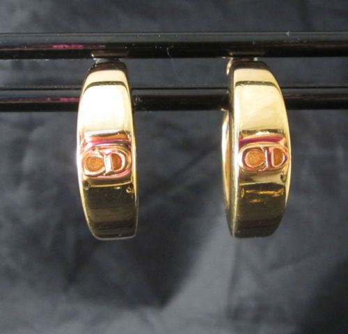 CHRISTIAN DIOR Logo SIGNED Gold Hoop Pierced EARRINGS - Runway Beautiful!!!