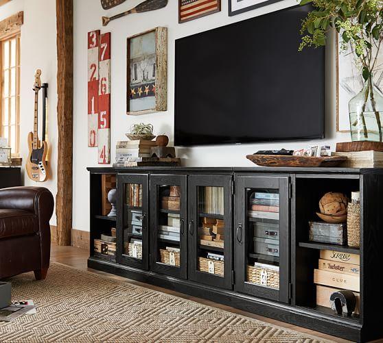 "Long Living Room Decorating Ideas: Printer's 64"" Media Console"