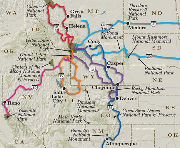 Yellowstone Road Trip Map Travel Plans In 2019 Road