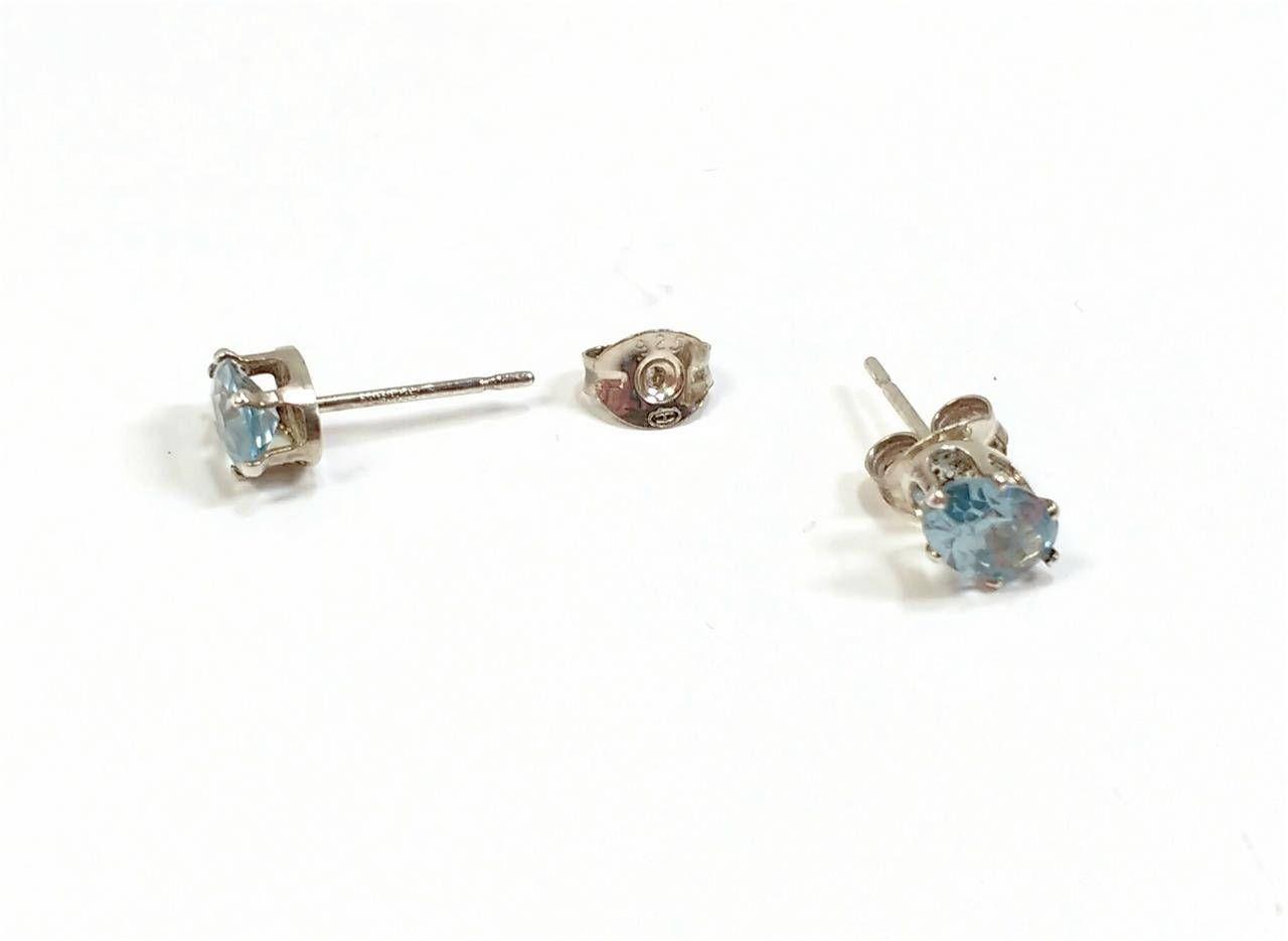 1ba3dc3943c70 Vintage ALR 925 Sterling Silver earrings Oval Aquamarine gemstone ...