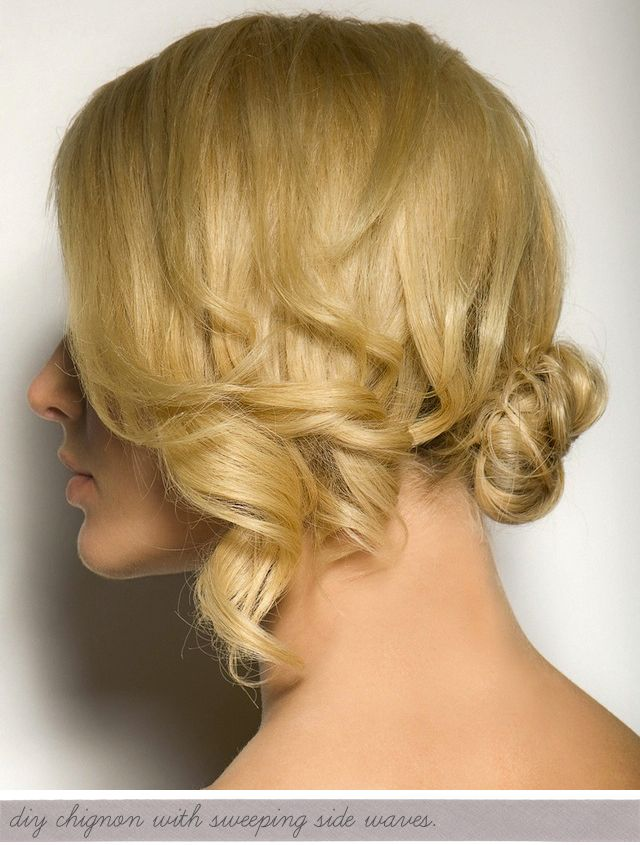 Low bun with sweeping side waves. Hey, I could actually do this myself!