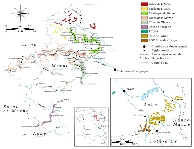 Map of the Champagne region vineyards Dreams Pinterest
