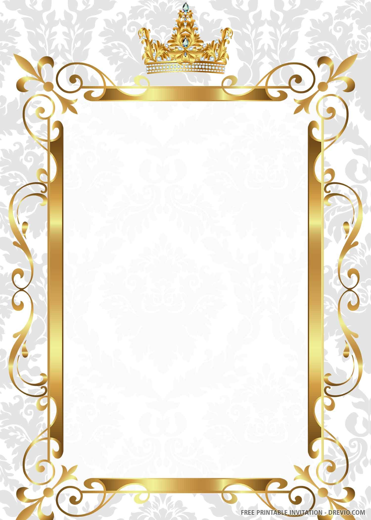 FREE PRINTABLE) – Gold Royal Wedding Invitation Templates
