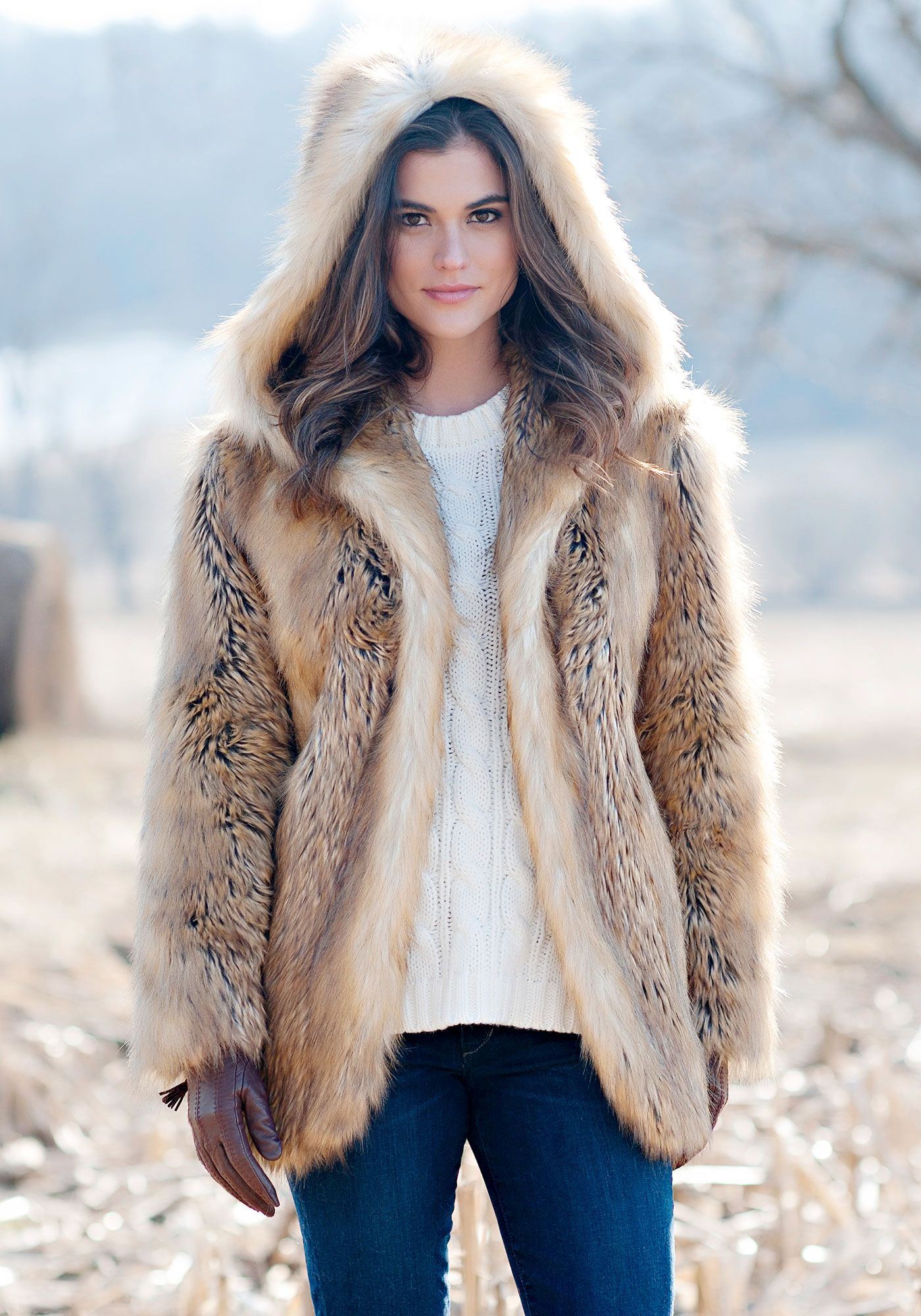 Gold Fox Hooded Faux Fur Jacket | Fabulous-Furs | Style: Plus Size ...