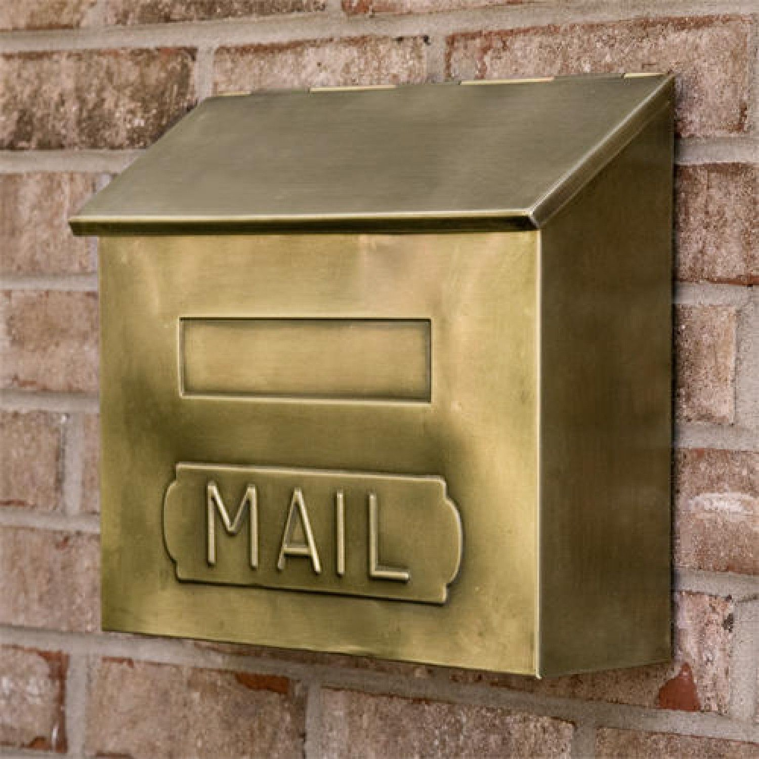 Horizontal Quot Mail Quot Wall Mount Brass Mailbox Antique