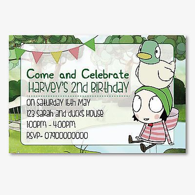 Sarah And Duck Personalised Children S Birthday Party