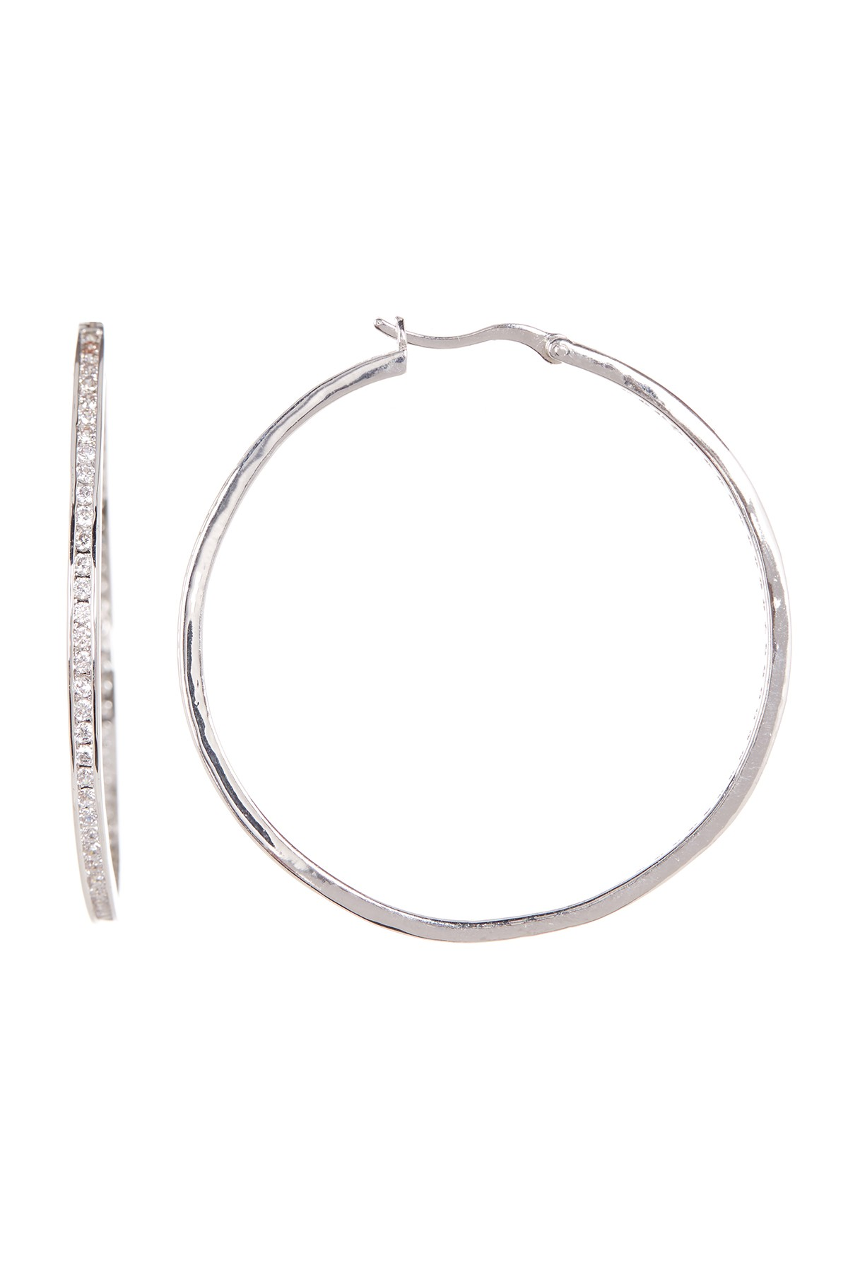 CZ Hoop Earrings Shop the look products Pinterest