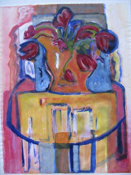 Een werk in acryl op papier met de titel 'Spring Flowers'. Nu de lente komt...voor de website van #OpenAteliersCentrumOost