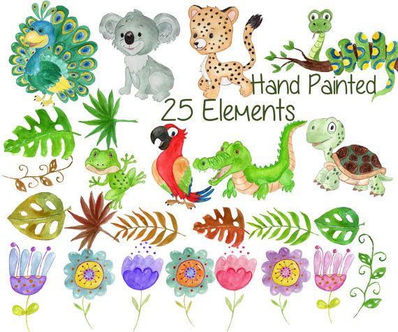 Watercolor Animals Clipart Rainforest Clipart Jungle Animals