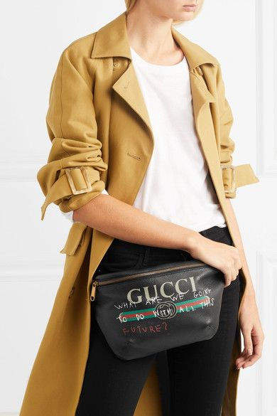 3d7571c4c7d GUCCI trendy Printed textured-black leather belt bag in 2019