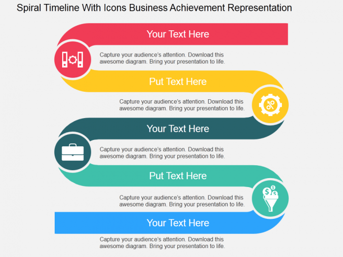 Spiral timeline with icons for business achievement representation buy predesigned spiral timeline with icons business achievement representation flat powerpoint design powerpoint templates slides ppt graphics toneelgroepblik Image collections