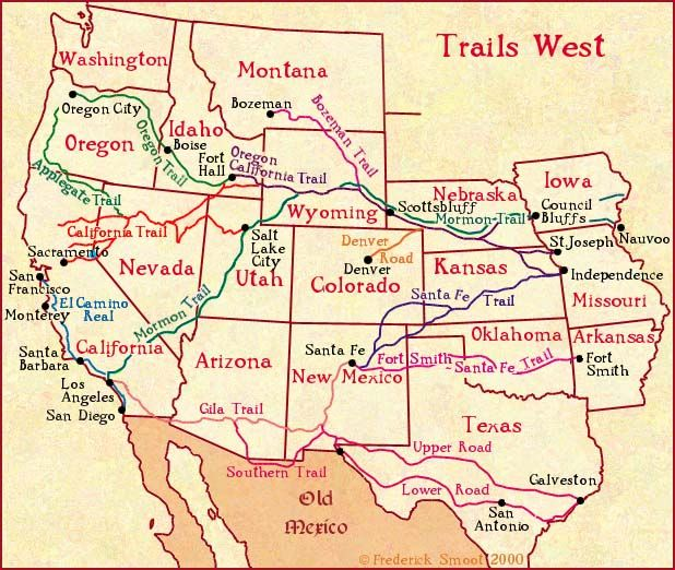 p.mc.n.) Trails Westa map of early Western migration routes