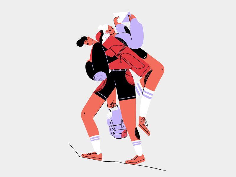 Hiking characterdesign character design illustration zion hiking roadtrip usa