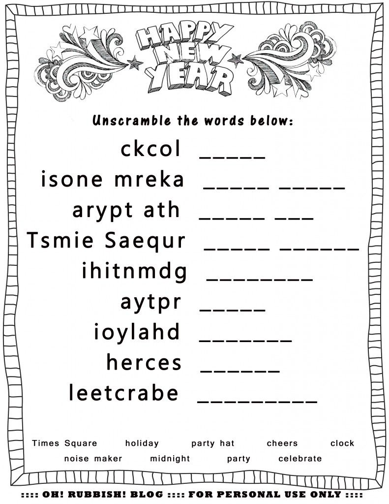 Happy New Year Unscramble by oh! rubbish! blog Lil