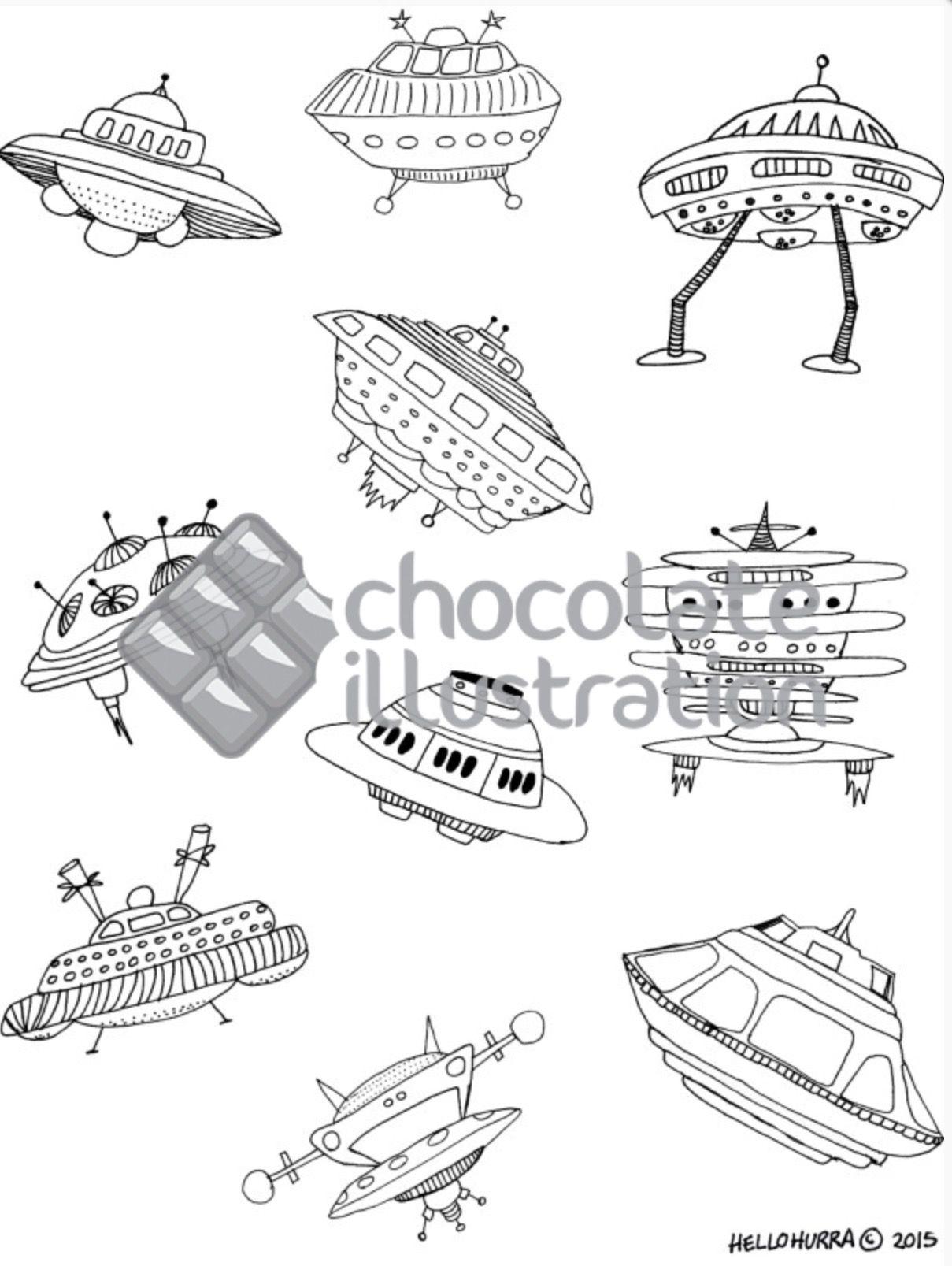 Un montón de naves espaciales en esta ilustración de Hurra para pasarlo genial coloreando. Nos encanta para convertirlo en un cuadro decorativo!. La tienes en https://chocolateillustration.com/ilustraciones/naves-espaciales/ #chocolateillustration #dibujosparapintar #colorear #yocoloreo #hurra #navesespaciales #dibujosparacolorear