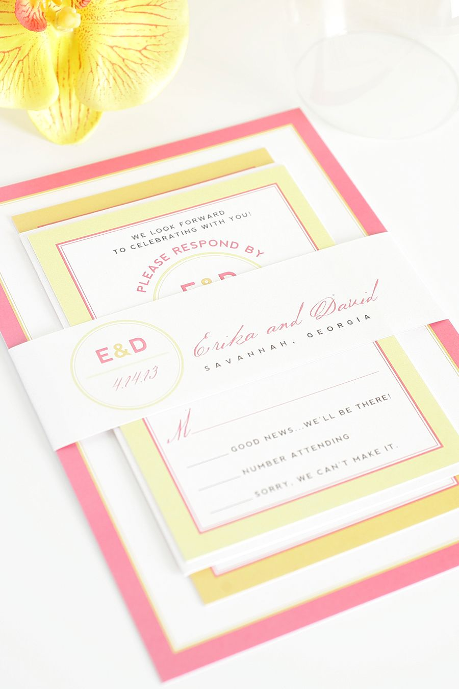 Pink and Orange Wedding Invitations with Yellow Accents | Pinterest ...