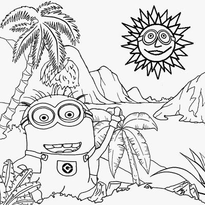 art printable free activity for kids costume minion coloring pages banana tropical caveman landscape