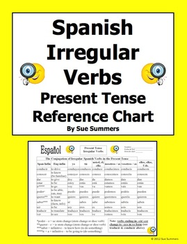 Spanish irregular present tense verb conjugation reference by sue summers this chart includes common also in rh pinterest