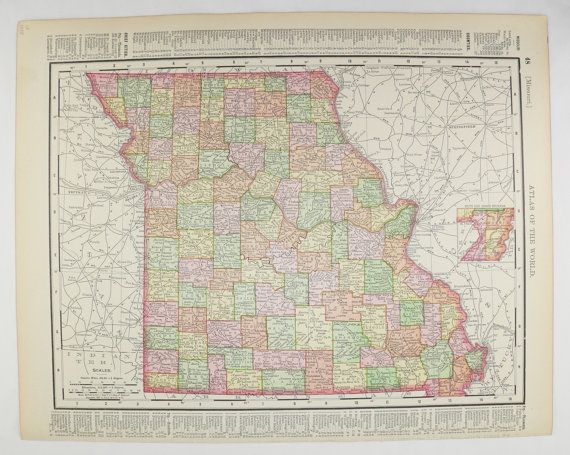 1898 Vintage Missouri Map Iowa Antique MO Map IA Missouri Gift for