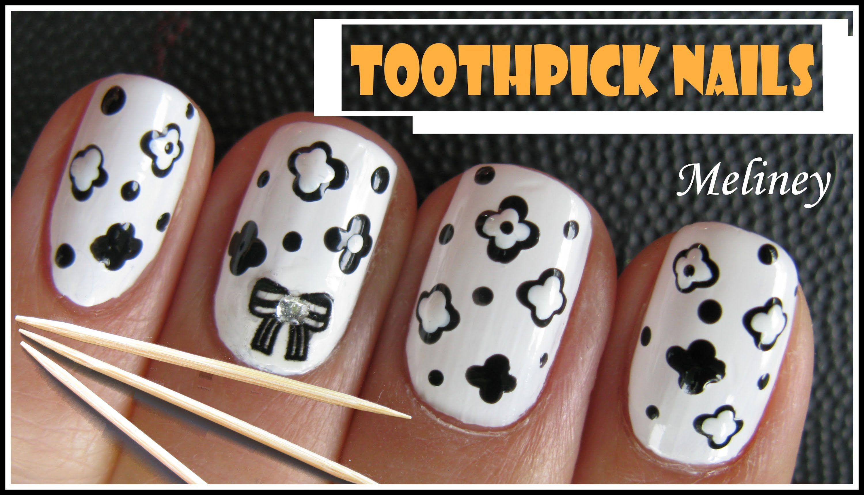 Toothpick Nails Easy Black White Flower Nail Art Design Using