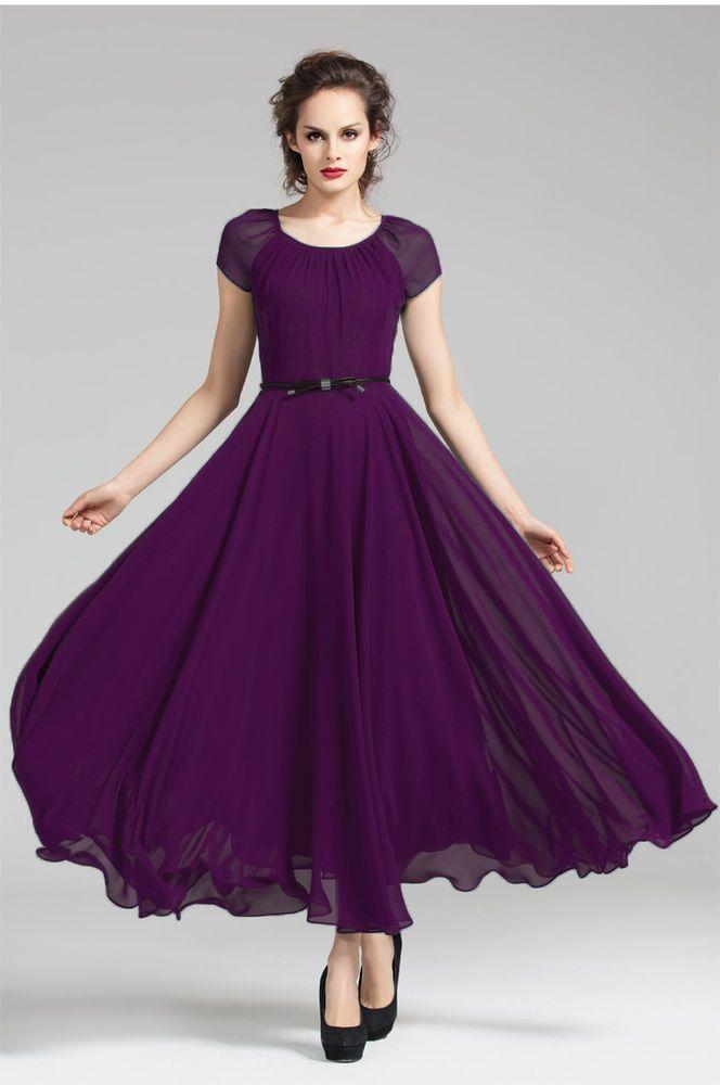 J Women Lady Purple billowy Evening Cocktail Party long maxi dress ...