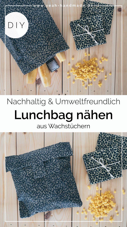 DIY Lunchbag nähen aus Wachstuch mit Klettverschluss • Yeah Handmade