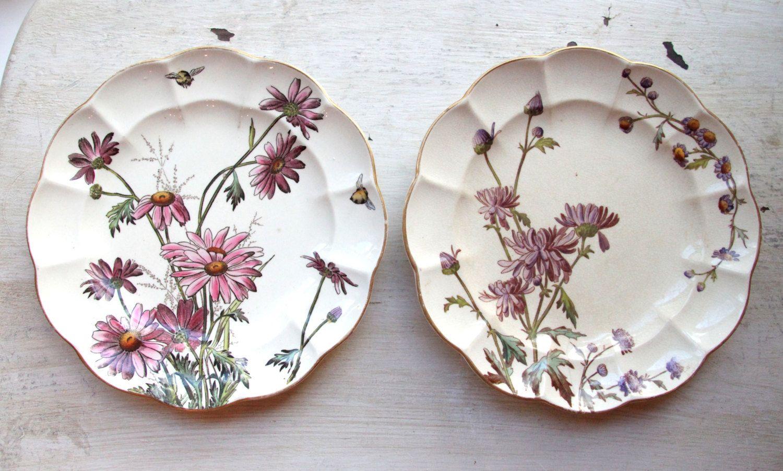 Antique George Jones Sons Chrysanthemum Etsy George Jones Transferware Flower Plates