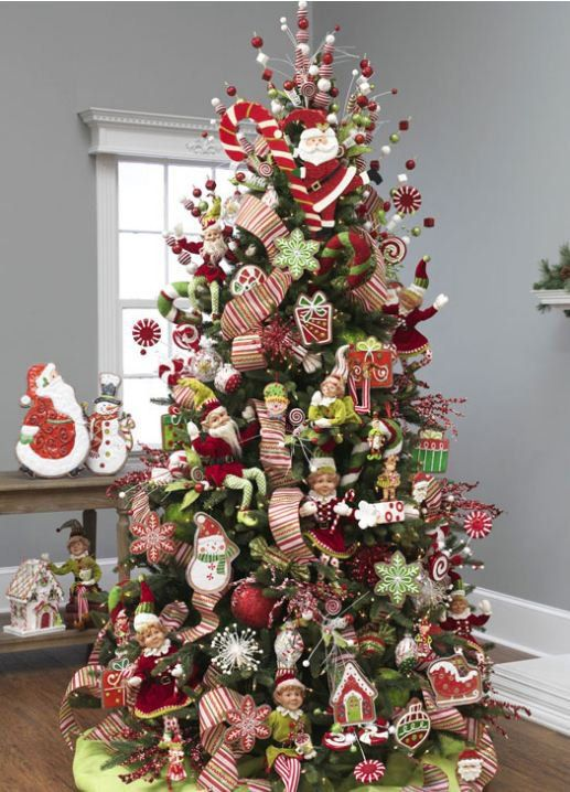Big Candy Cane Decorations Raz 2012 Christmas Trees  Whimsy Tree With Lots Of Red Green And