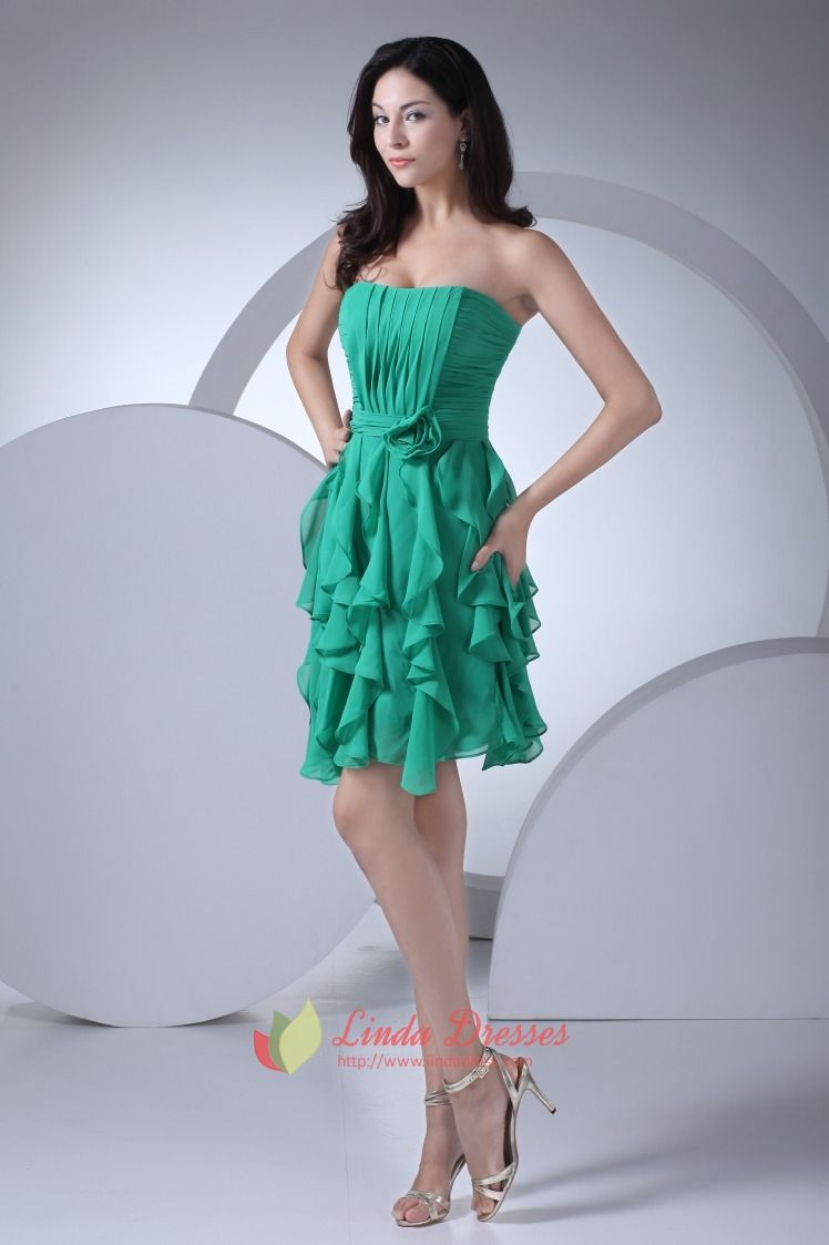 Sea Green Chiffon Homecoming Dresses Strapless Ruffle Cocktail ...