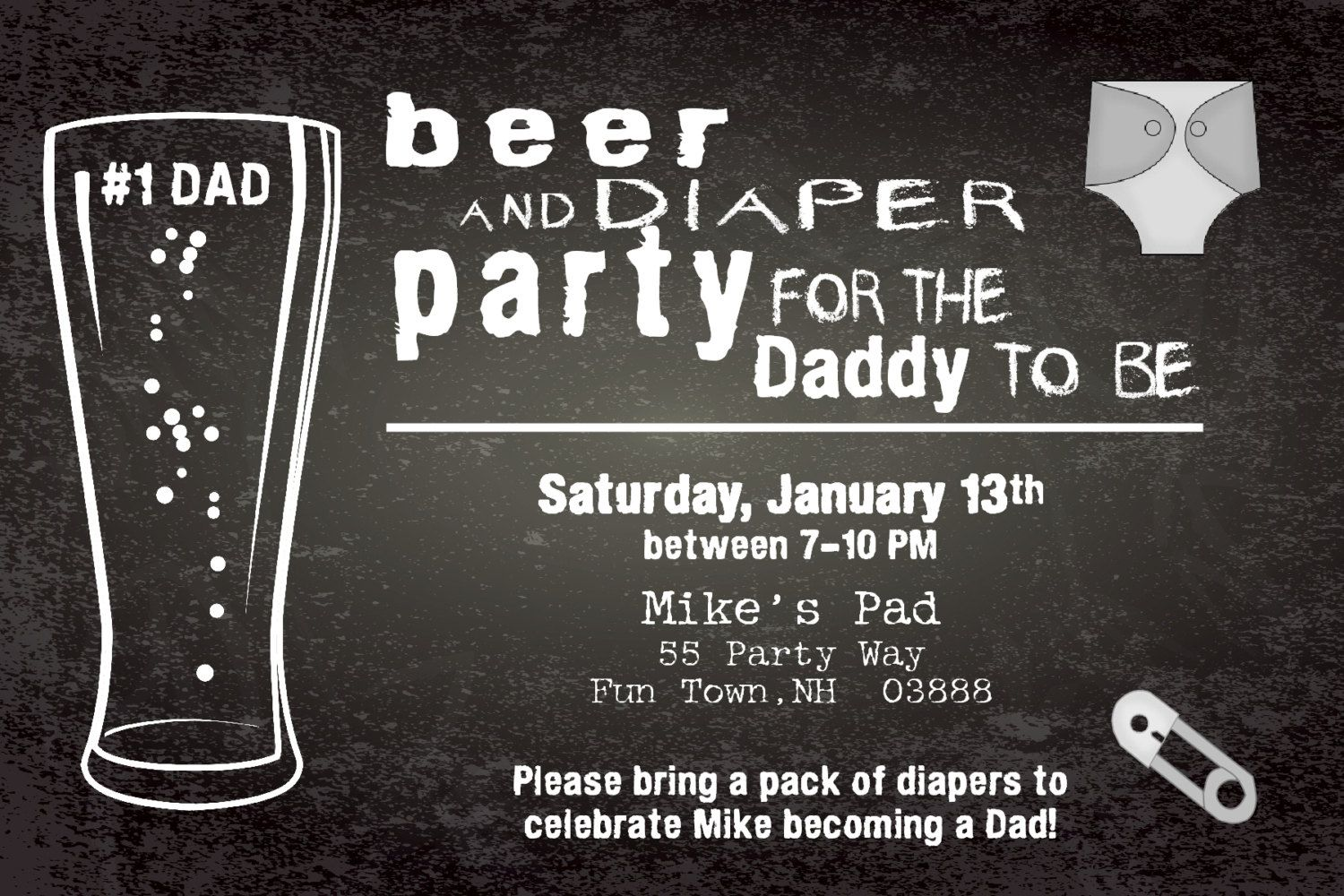 Beer and Diapers Baby Shower Invitation - Diapers and Beer Baby ...