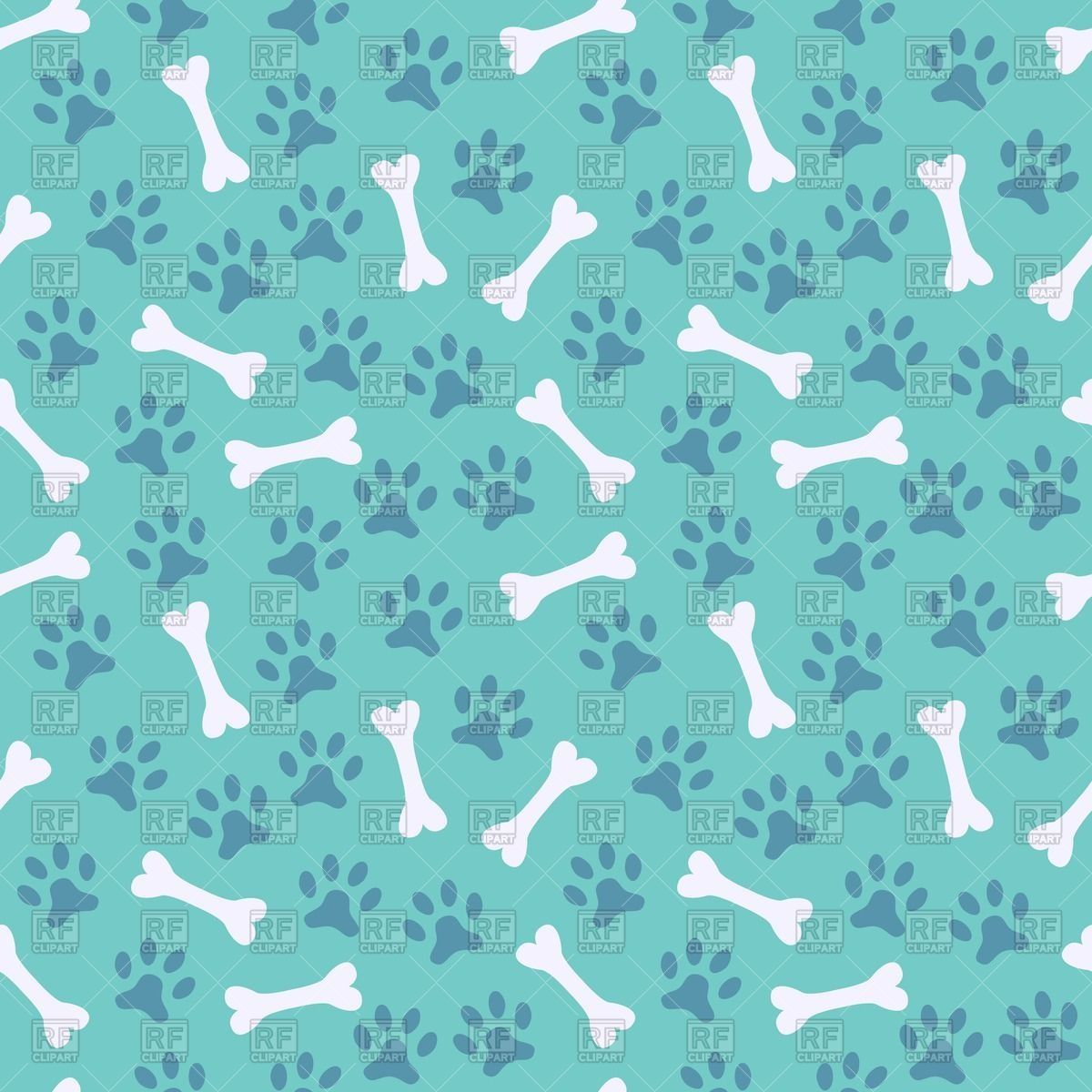 b22ae497b114 Royalty Free Vector image of Blue seamless pattern with dog's paw print and  bone #40430
