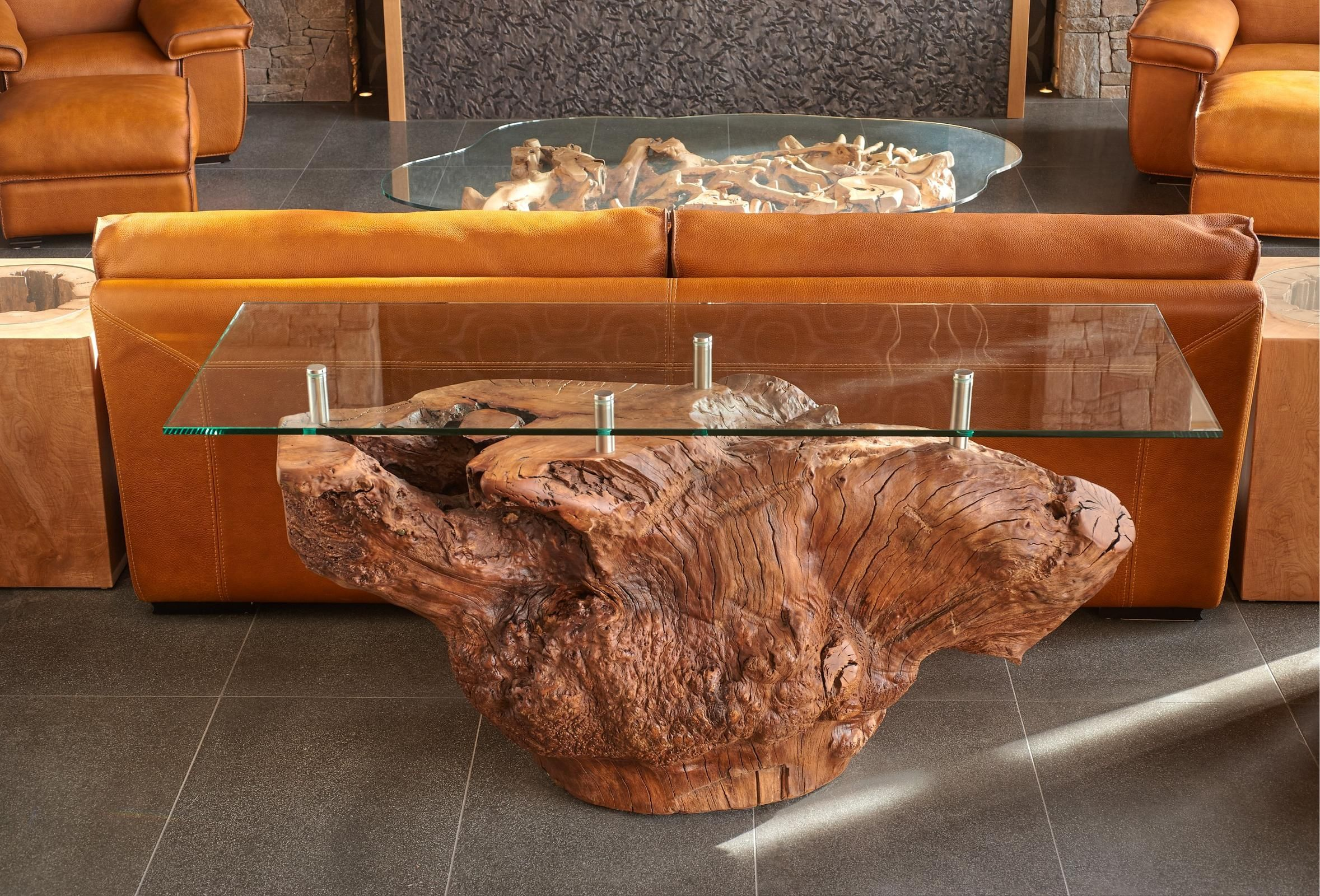 One Of A Kind Red Mountain Chuck Coffee Tables Various Sizes And Styles Available Origins Wood Redmountain Chunk Slice Coffee Coffee Table Decor Table [ 3753 x 5000 Pixel ]