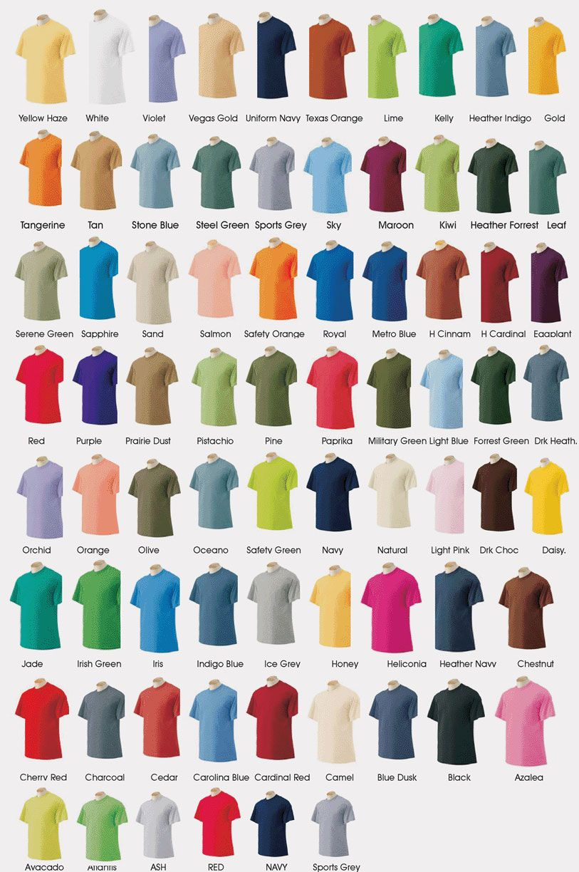 Gildan T Shirt Color Chart 2014 Crafts Pinterest Colour Chart