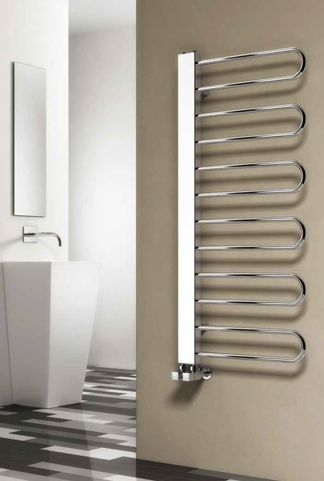 Reina Designer Larino Vertical Chrome Heated Towel Rail Steel