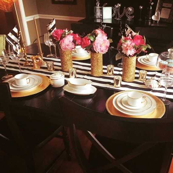 Clic Black And White Stripe Wedding Table Runners Dinner Reception Baby Shower Birthday Party Custom Sizes Available