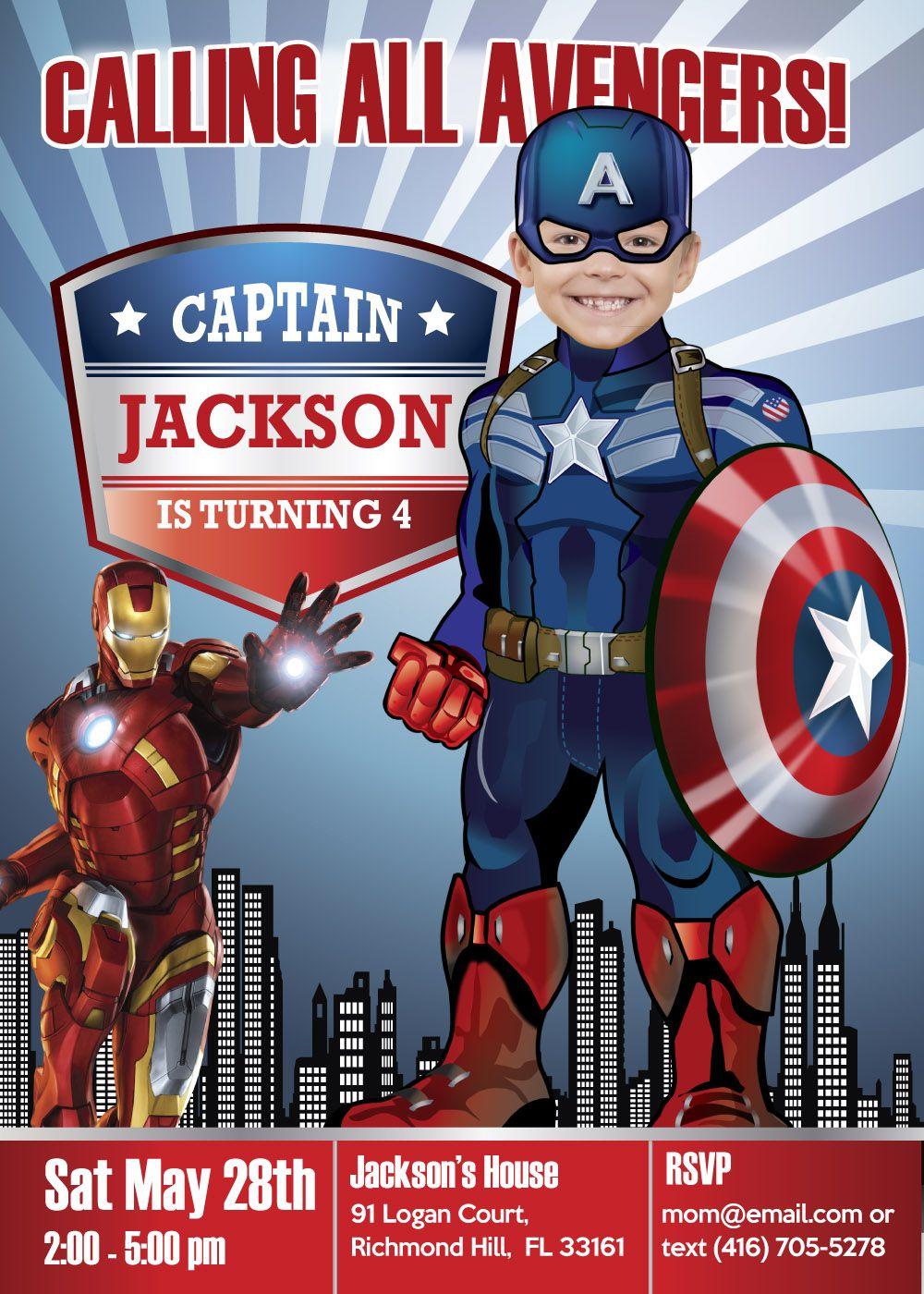 Captain America Birthday Invitation Captain America Party