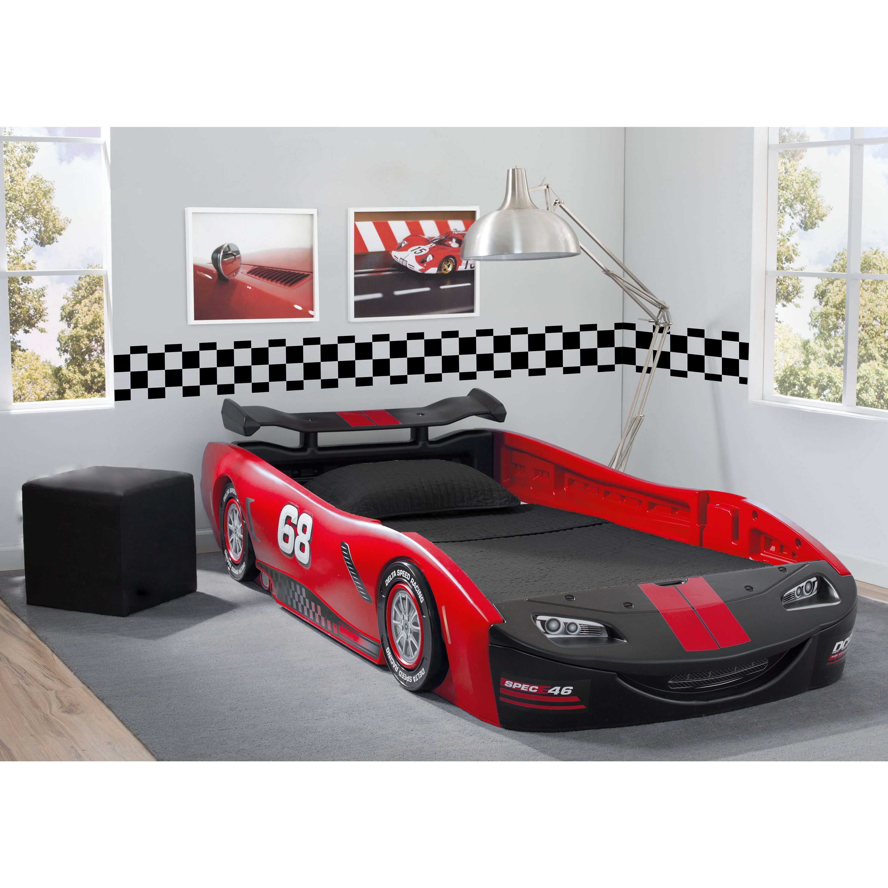 Delta Children S Red Turbo Race Car Twin Bed Red Dibujos  # Tuwi Muebles Infantiles