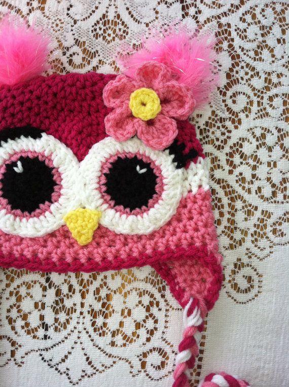 Crochet Owl & Flower Earflap Beanie Hat (Pink, Pink & White) w ...