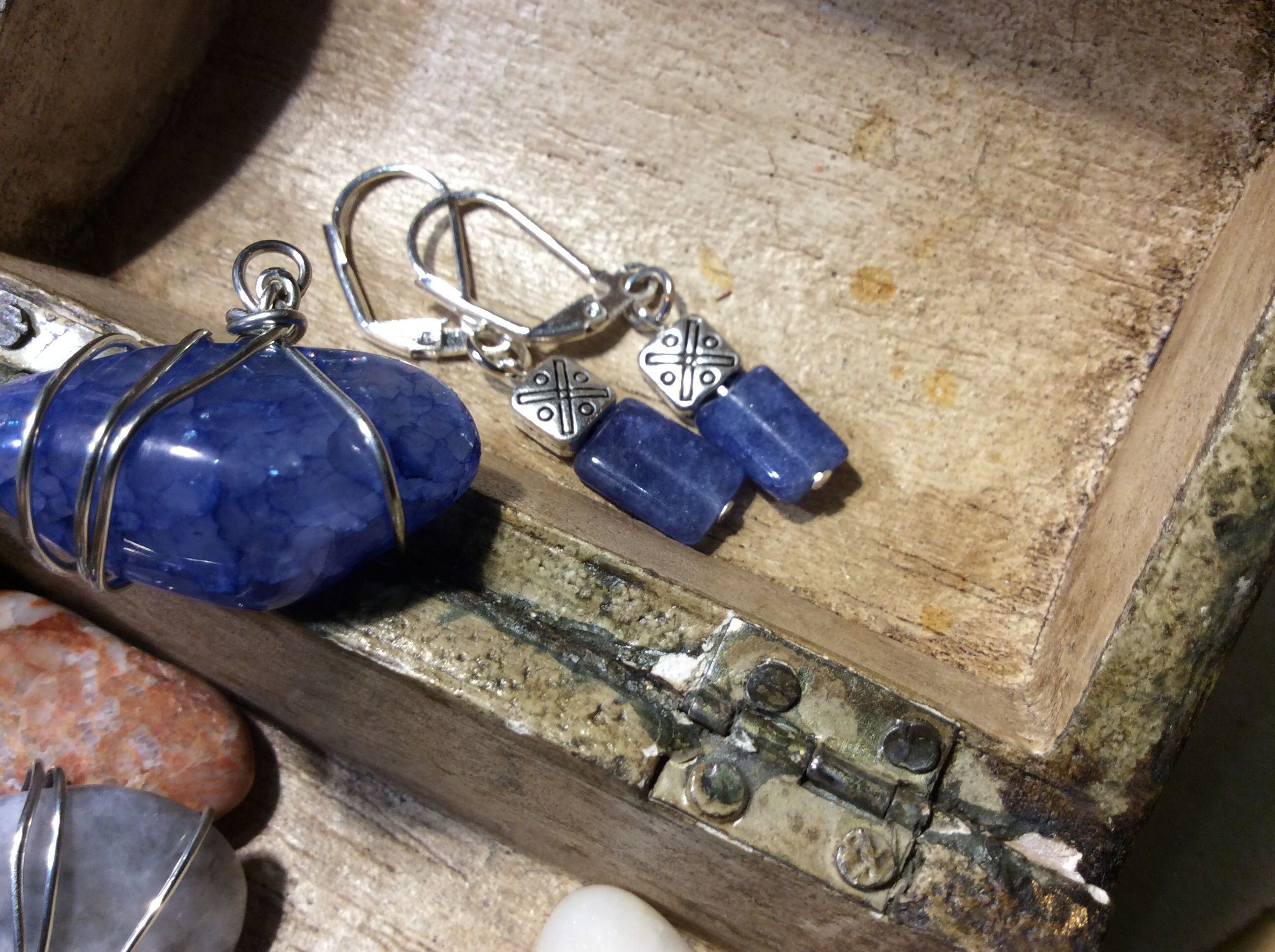 Lapis Gemstone earrings $24.00