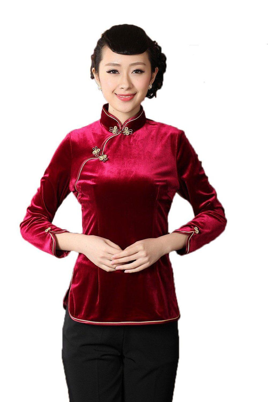 Amazon.com: AvaCostume Women\'s Pleuche Solid Color Chinese Cheongsam ...