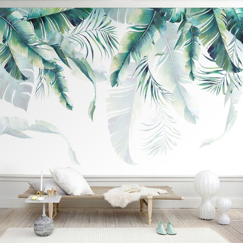 Watercolor Hand Painted Hanging Tropical Leaves Wallpaper Wall
