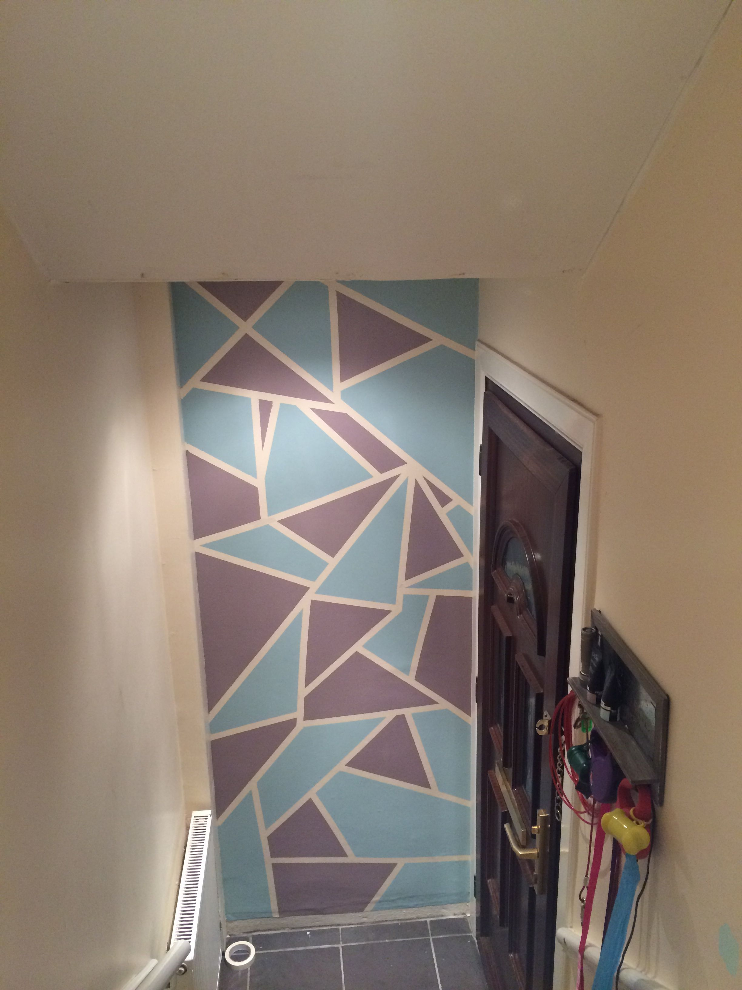 I Used Masking Tape To Section Off The Wall And Then Painted Each Section Love The Result Tape Painting Wall Painting Masking Tape