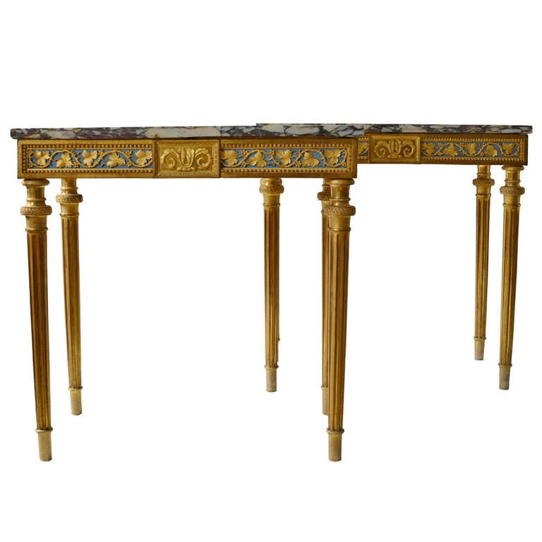 Important Pair of Gustavian Console Tables by Per Ljung, Stockholm circa 1790 | From a unique collection of antique and modern console tables at https://www.1stdibs.com/furniture/tables/console-tables/