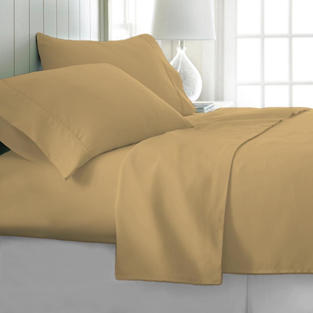 4 Piece Gold Solid 1800 Thread Count Microfiber Full Sheet Set Lh