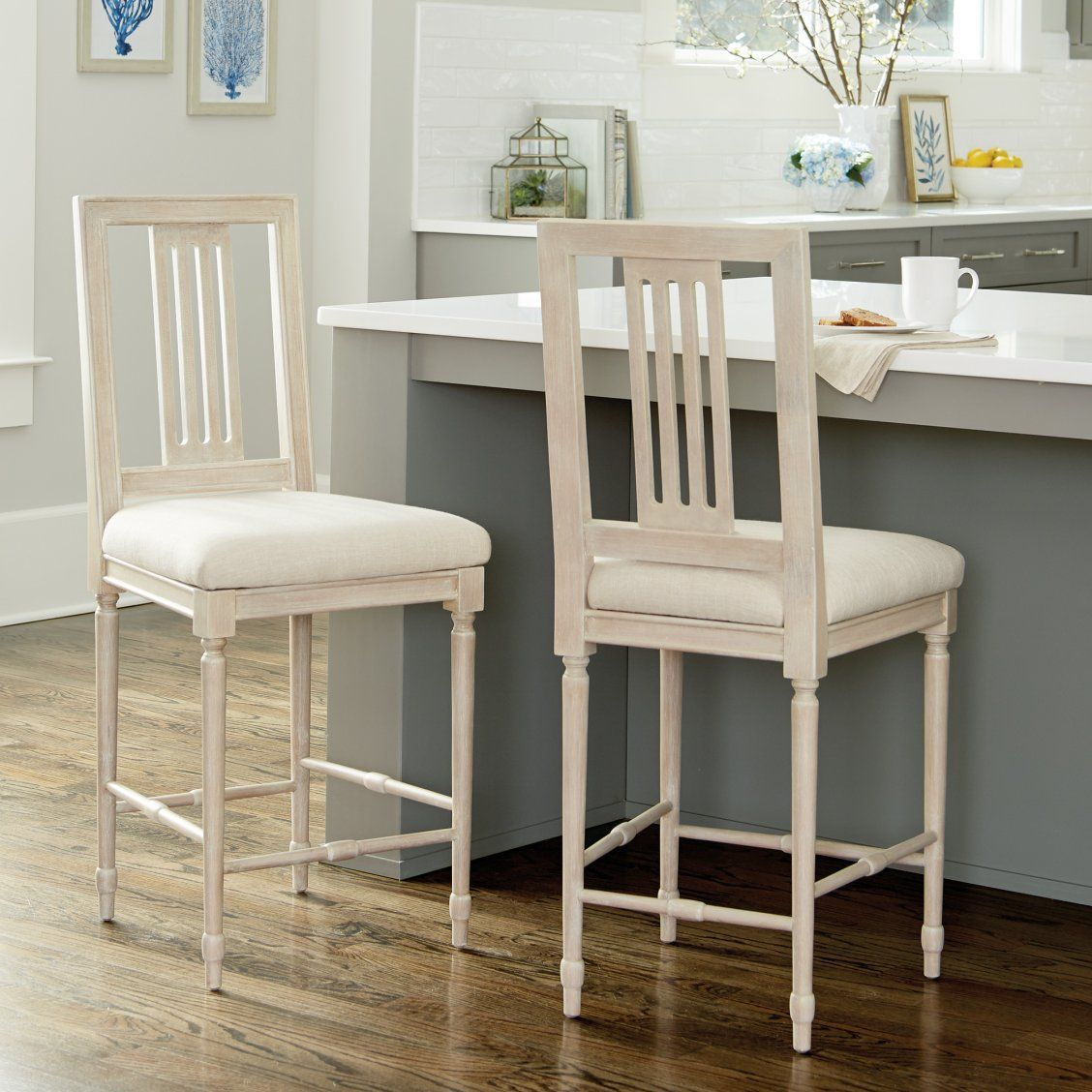 Tuva Slat Back Counter stool / Counter Reupholsterstool
