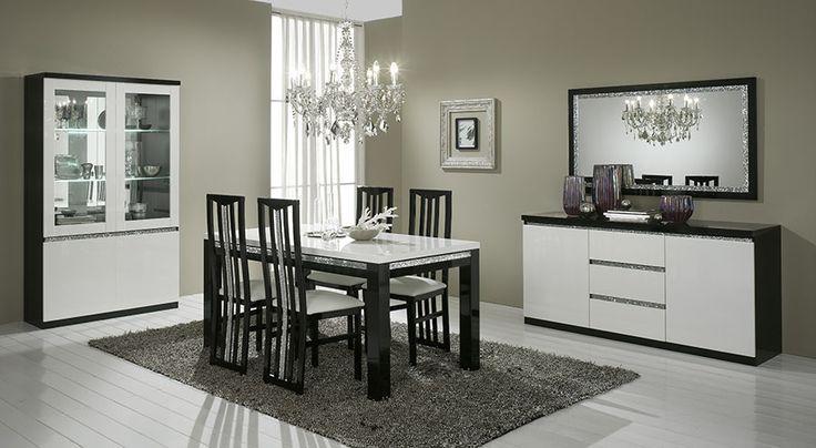 Buffet-bahut contemporain DARIO, coloris blanc et chêne marron ...