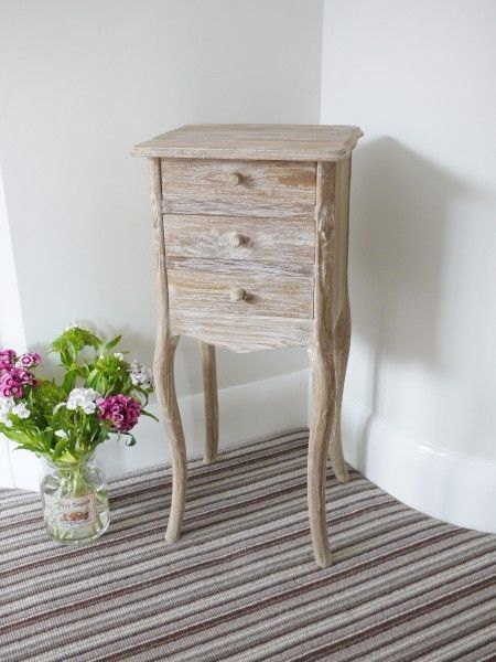 Bedside Cabinet Side Table Three Drawer Rustic White Wash Shabby Chic Teak Wood Ebay