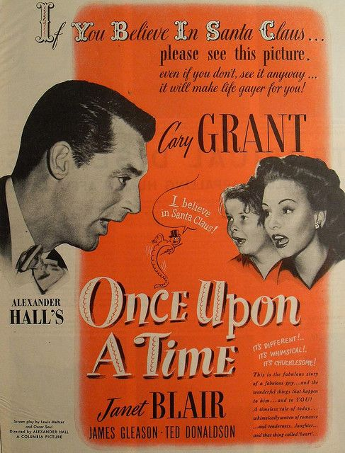 1940s VINTAGE MOVIE POSTER 1944 Advertisement Hollywood CARY GRANT Janet Blair ONCE UPON A TIME