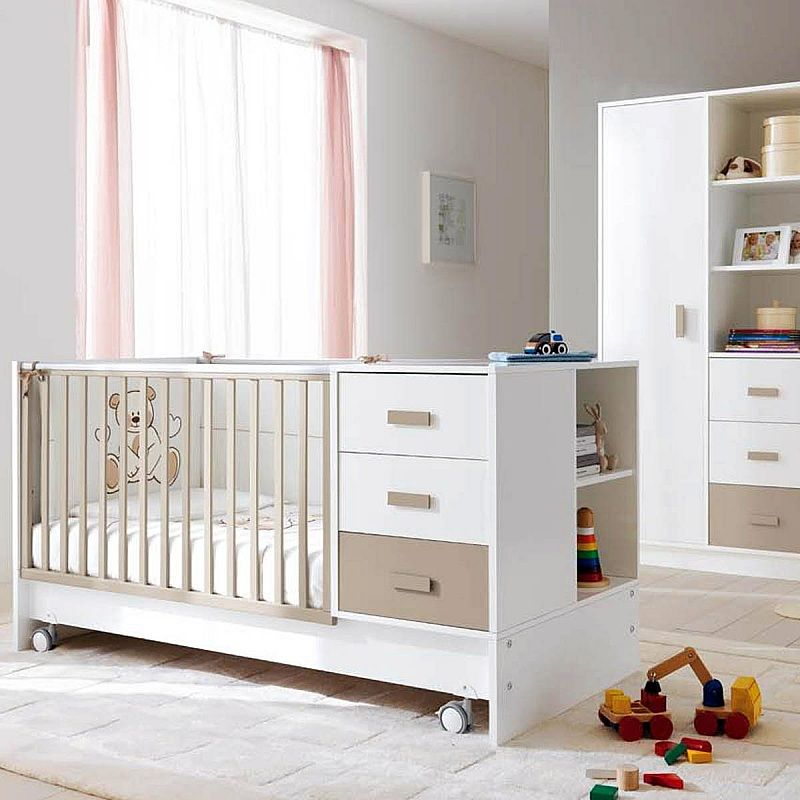 Convertible baby cot to kids bed with storage Zoom by Pali ...