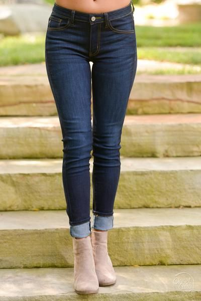 Kancan Skinny Jeans Ultra Dark Wash Skinny Online Clothing Boutiques Fashion